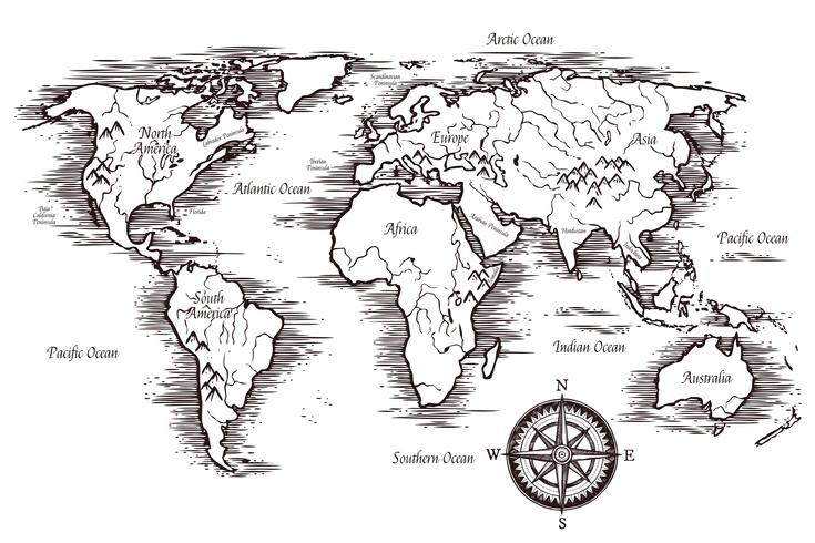 Sketch World Map Template - Download Free Vectors, Clipart