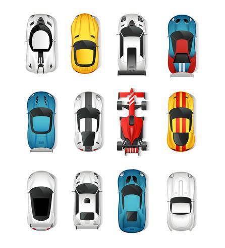 Ensemble de vue de dessus de voitures de sport