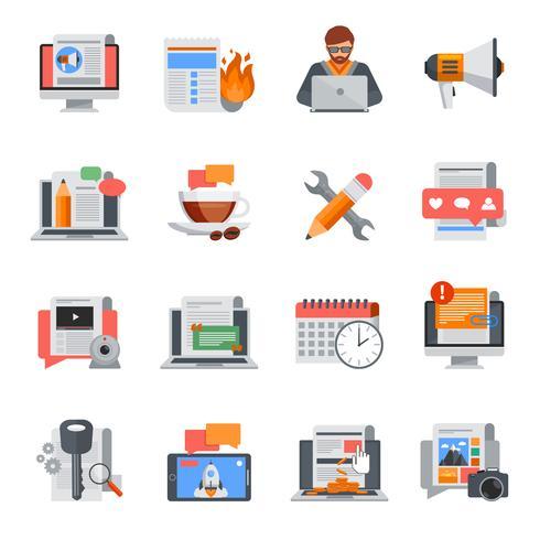 Blogging conjunto de iconos planos vector