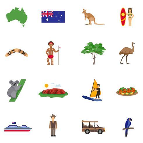 Australien Plansikoner Set vektor