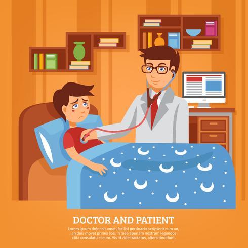 Läkare Delta i Patient Home Flat Illustration