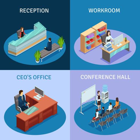 Office Isometric 4 Icons Square-samenstelling