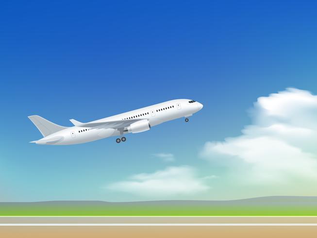 Cartaz da decolagem do avião