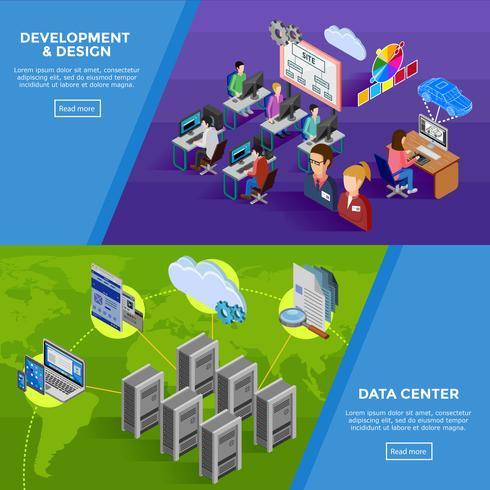 Banners horizontais isométricos de desenvolvimento