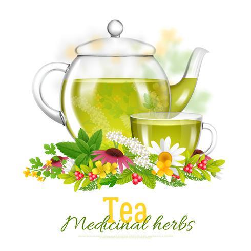 Tetera y taza de té de hierbas medicinales ilustración
