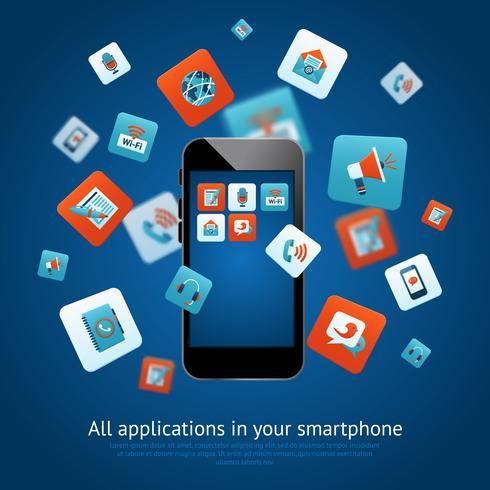 Smartphone applikationer affisch vektor