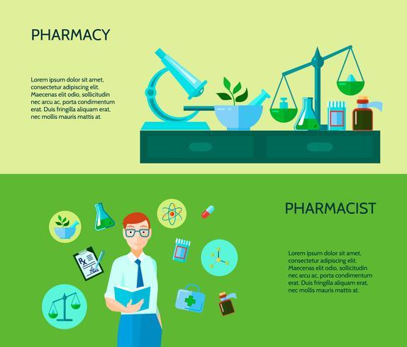 Conjunto de banners de dos farmacéuticos