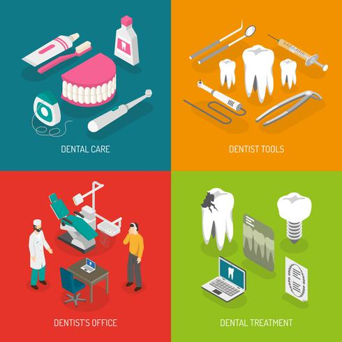 Dentist Concept 4 Flat Icons Square  vector