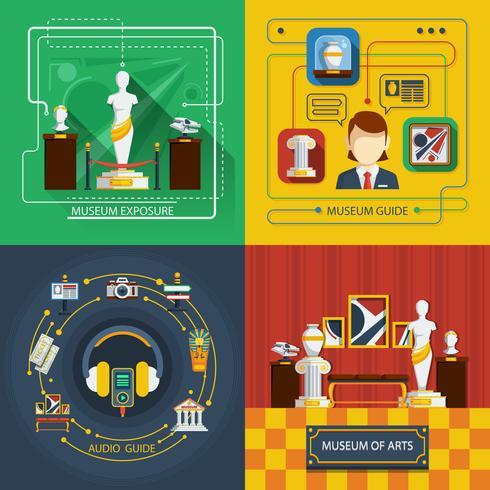 Conjunto de composición de iconos de museo vector