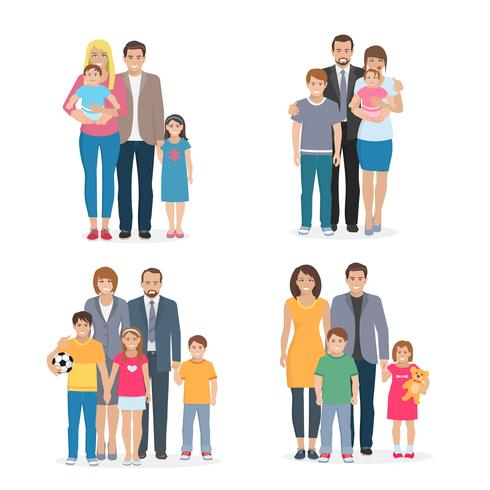 Family Flat Concept vector