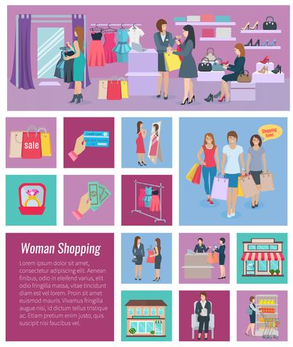 Kvinna Shopping Icon Flat