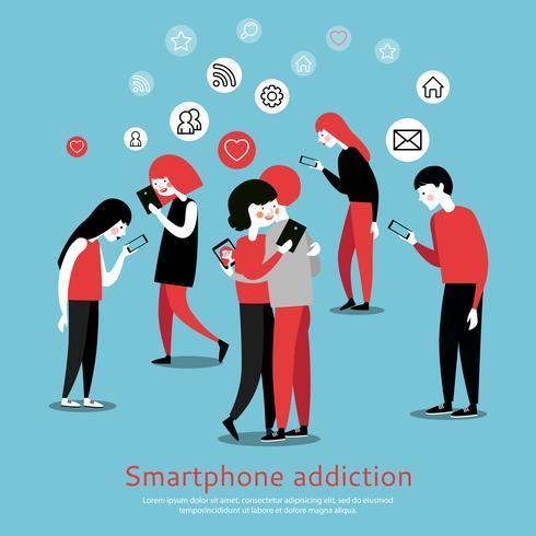 Smartphone Internet Addiction Awareness Flat Poster