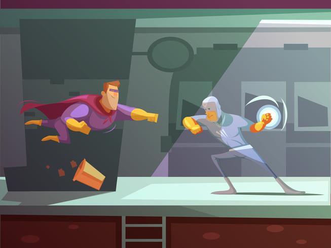 Illustration de dessin animé rétro de super-héros