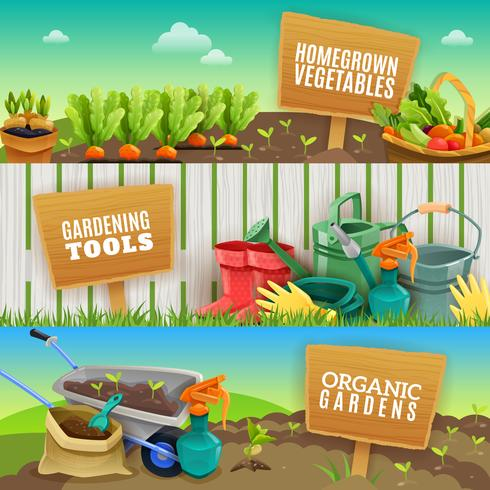 Tres Banners horizontales de jardinería vector