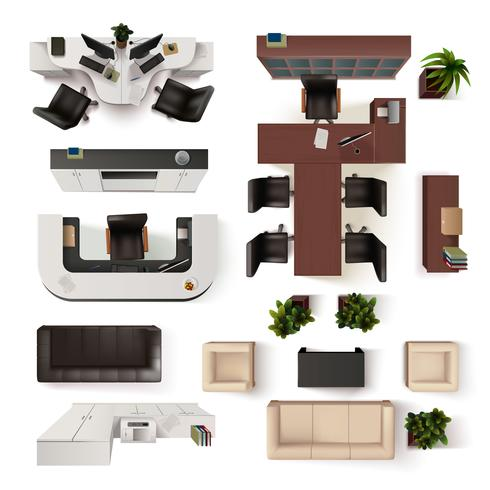 Office Interior Elements Top View Set vector