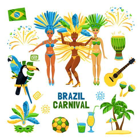 Carnaval du Brésil isolé Icon Set