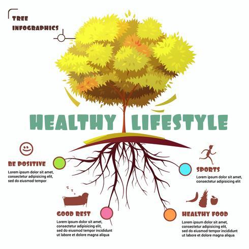 Baum mit Wurzel Infographic Illustration vektor