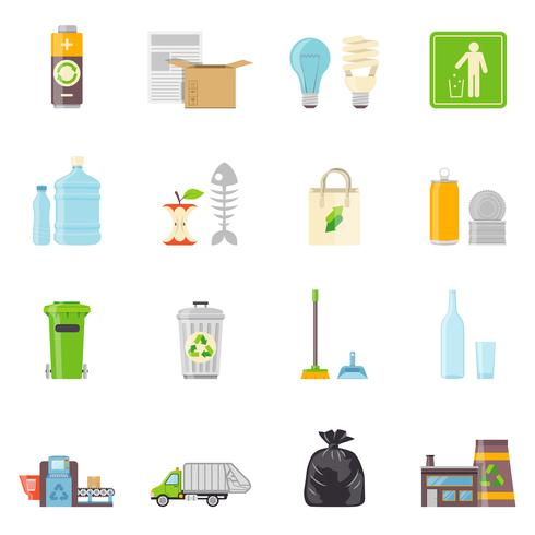Conjunto de iconos de reciclaje de basura