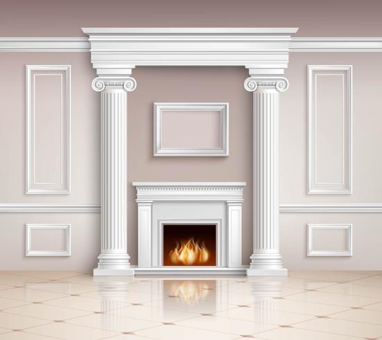 Interior Clássico Com Design De Lareira