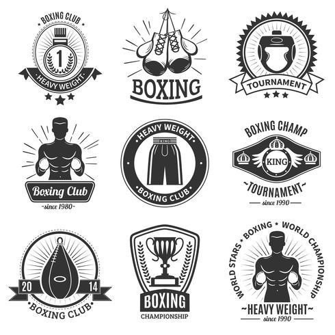 Emblemas de boxe preto sobre fundo branco