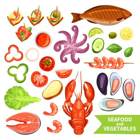Conjunto de iconos de mariscos y verduras vector