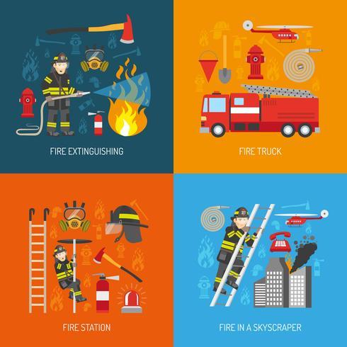 Fireman Concept 4 flat Icons Square