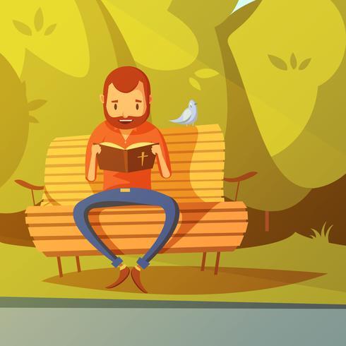 Homem lendo a ilustração da Bíblia