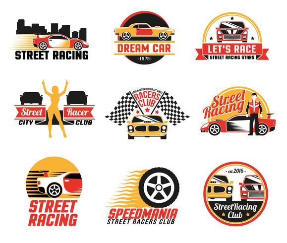 Street Racing Logo Emblems  Icons Set