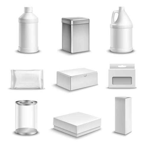 Product Package Realistic Icons Set