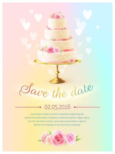 Invitation de carte de mariage avec gâteau réaliste