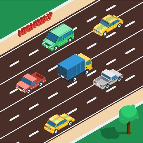 Illustration isométrique de l'autoroute