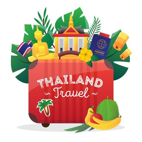 Affiche de composition de symboles de voyage Thaïlande vecteur
