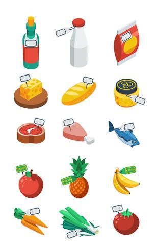 Supermarket Isometric Flat Icons vektor