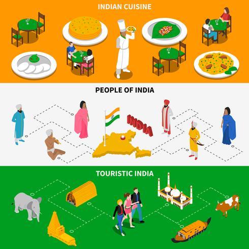 Culture Indienne Touristique Isométrique 2 Bannières