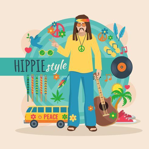 Hippie Character Pack För Mannen vektor