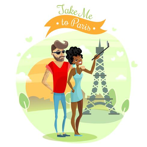 Ilustração de viagem romântica