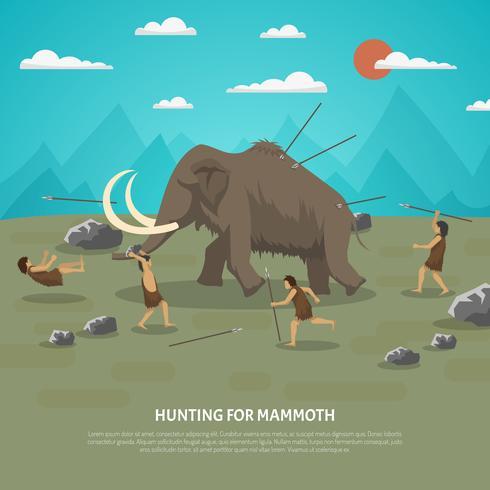 Ilustración de la caza de mamut vector