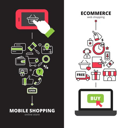 Mobile shopping online 2 set di banner verticali