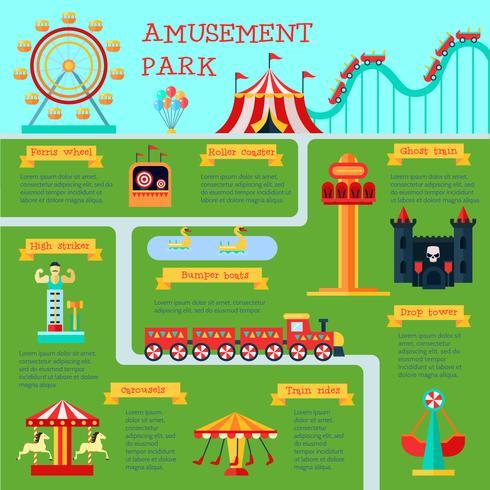 Conjunto de infografía parque de atracciones