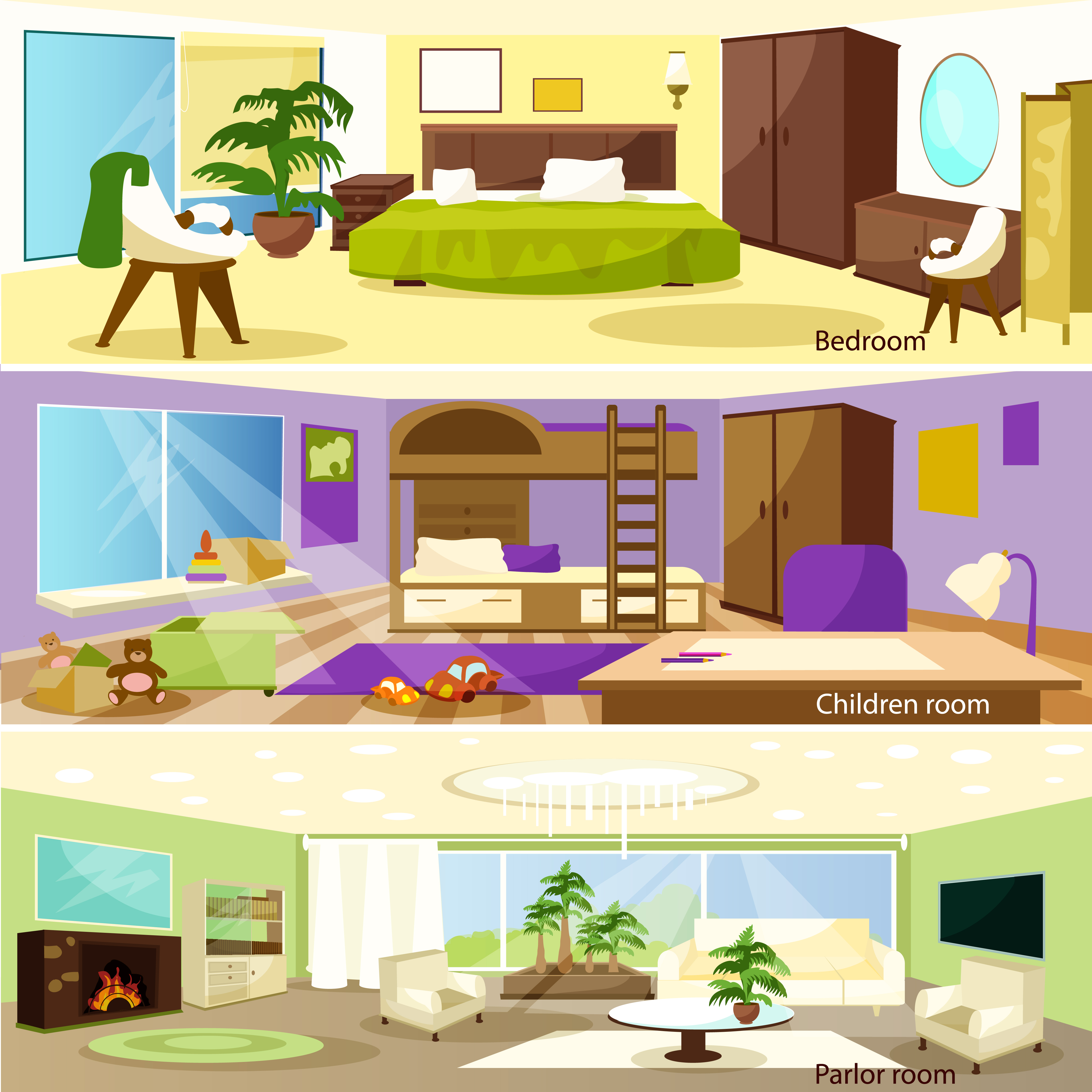 Horizontal Cartoon Living Room Interior Banners - Download ...