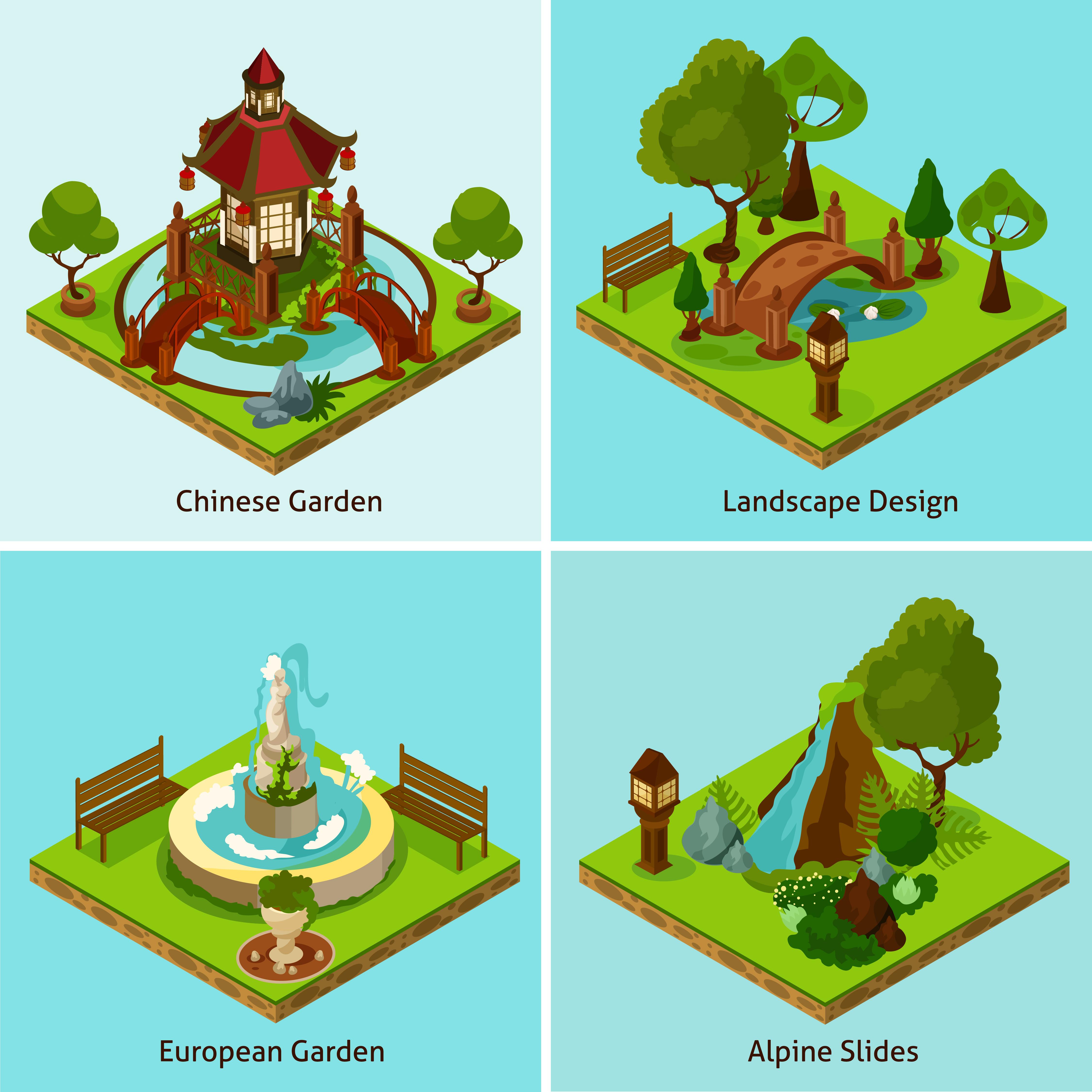 Isometric 2x2 Landscape Design Concept Download Free Vectors