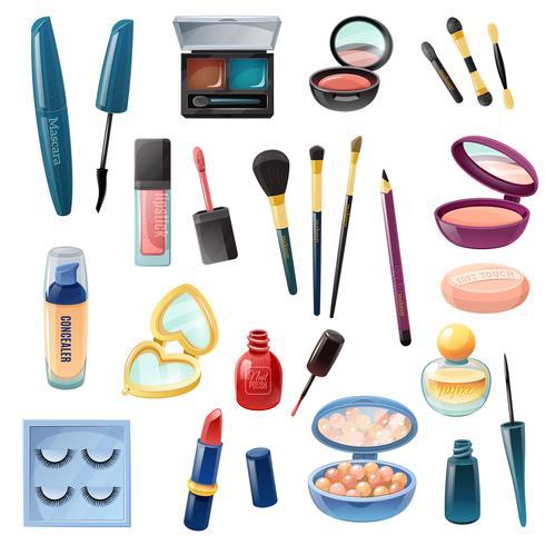 Maquillaje Realista Damas Cosmética vector