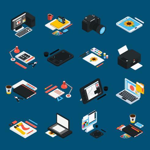 Grafiska design isometriska ikoner
