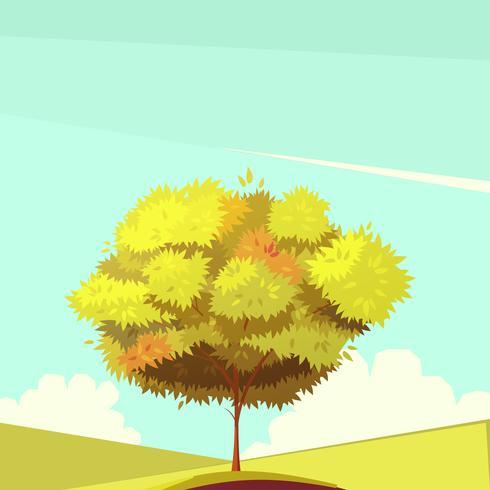 Baum mit Wurzel-Retro- Karikatur-Illustration vektor