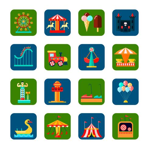 Amusement Park Square Icons Set
