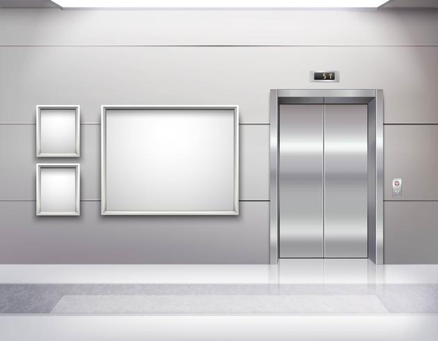 Interior de la sala del ascensor vector