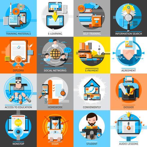 Set di icone di colore piatto di formazione online