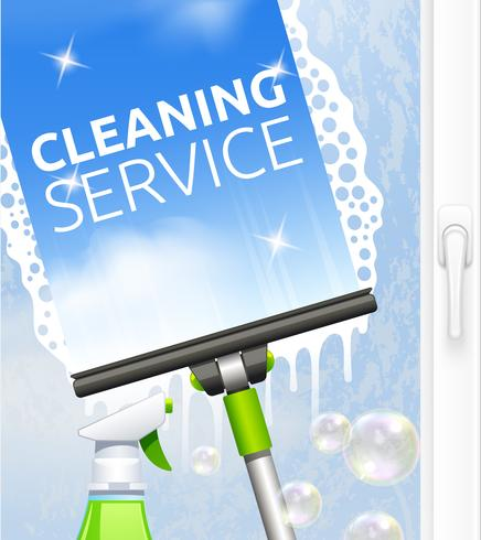 Window cleaning illustration vector