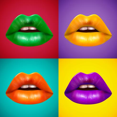 Cartel coloreado brillante de los iconos de los labios 4 vector