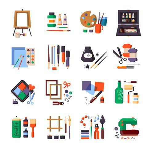 Conjunto de iconos de herramientas y materiales de arte vector